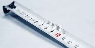 Tape measure. Top ten long or short measure Royalty Free Stock Photography