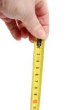 Tape Measure. A Tape Measure white female hand Royalty Free Stock Photography