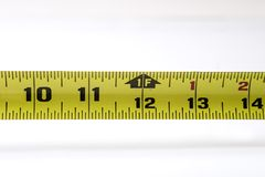 Tape measure. One foot mark on tape measure Royalty Free Stock Images