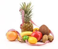 Tape Measure And Fruits Composition Stock Images