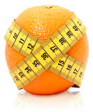 Tape measure around orange Royalty Free Stock Image