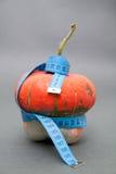 TAPE MEASURE AROUND PUMPKIN. Tape measure wrapped around pumpkin stock images