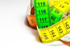 A tape measure as used by people who make their own clothes. royalty free stock image