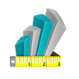 Tape measure bar graph concept illustration Stock Photo