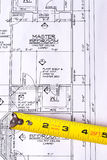 Tape Measure on Blueprints royalty free stock images