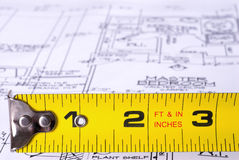 Tape Measure on Blueprints Stock Photos