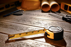 Tape Measure at Building Construction Work Site stock photography