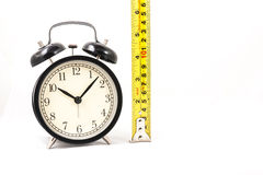 Tape measure with clock in isolated. Tape measure with clock in white isolated Royalty Free Stock Image