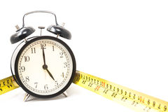 Tape measure with clock in isolated. Tape measure with clock in white isolated Stock Photography