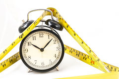 Tape measure with clock in isolated. Tape measure with clock in white isolated Stock Images