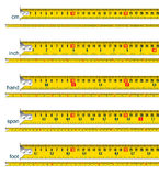 Tape measure in cm, inch, hand, span and foot. Tape measure in cm, cm and inch, cm and hand, cm and span, cm and foot -  illustration Stock Image