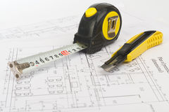Tape measure with cutter, close up view Stock Image