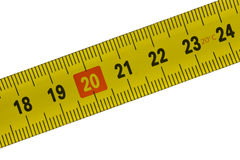Tape measure, detail from 18 to 24 centimeters Stock Image