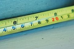 Tape measure. Extended tape measure Royalty Free Stock Photos