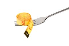 Tape Measure and fork Stock Photo