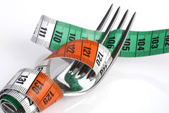 Tape measure with fork Stock Image