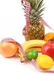 Tape measure and fruits composition Royalty Free Stock Photos