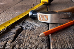 Tape Measure and Hammer Royalty Free Stock Photo