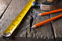 Tape Measure and Hammer Royalty Free Stock Image