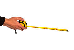 Tape measure in hand Royalty Free Stock Photos