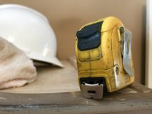 Tape Measure. Hard hat construction dirty greasy royalty free stock photography