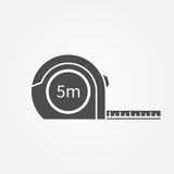 Tape measure icon. Centimeter. Black silhouette isolated on white background. Vector illustration flat design Royalty Free Stock Images