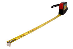 Tape measure isolated on white. Background black color with the red button Royalty Free Stock Photography