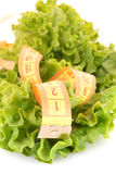 Tape measure  and lettuce Royalty Free Stock Photos