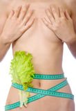 Tape measure and lettuce on waist isolated Stock Photos