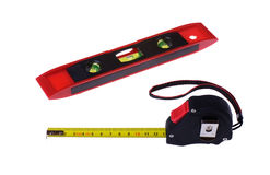 Tape measure and level Royalty Free Stock Images