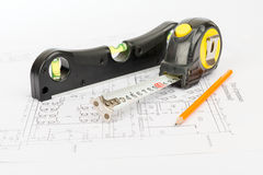 Tape measure with level Stock Images