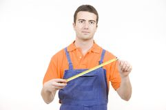 Tape measure man Royalty Free Stock Image