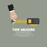 Tape Measure With Man's Hand Royalty Free Stock Photos