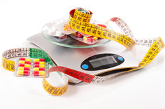 Tape-measure and medicament, kitchen scale Royalty Free Stock Images