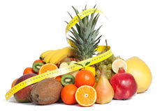 Tape measure and mixed fruits Stock Photo