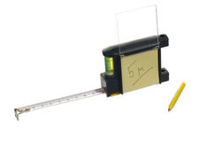 Tape-measure with a note Royalty Free Stock Images