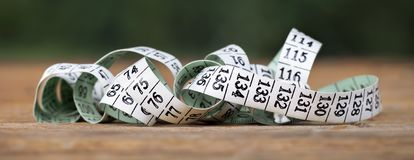 Tape measure with numbers web banner Stock Photo