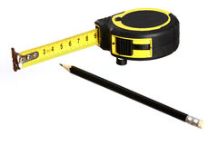 Tape measure and pencil Stock Photo
