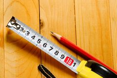 Tape measure, pencil Royalty Free Stock Photos