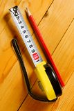 Tape measure, pencil Stock Image