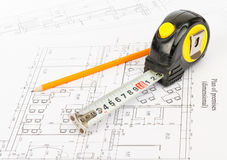 Tape measure with pencil Royalty Free Stock Photography