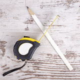 Tape measure and pencil Stock Photos