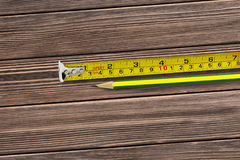 Tape measure and pencil Stock Photography