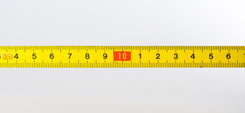 Tape Measure Rolled Out Yellow Bright Lines Closeup Construction Royalty Free Stock Image