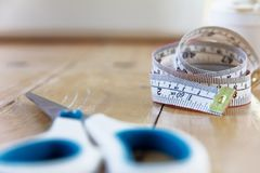 Tape measure and scissors  Stock Image