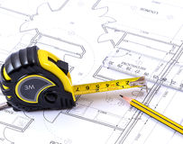 Tape Measure. On a set of plans Stock Photos