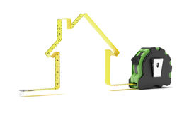 Tape measure in the shape of a house. Isolated on a white background Royalty Free Stock Photography