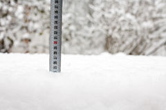 Tape measure in snow Stock Image