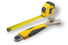 Tape measure and spanners Stock Image