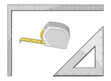 Tape Measure Square and Triangle Stock Photos